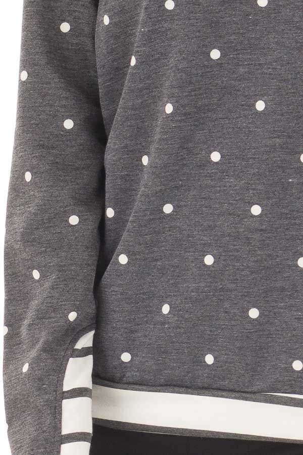 Navy Polka Dot Top with Off White Striped Contrast detail