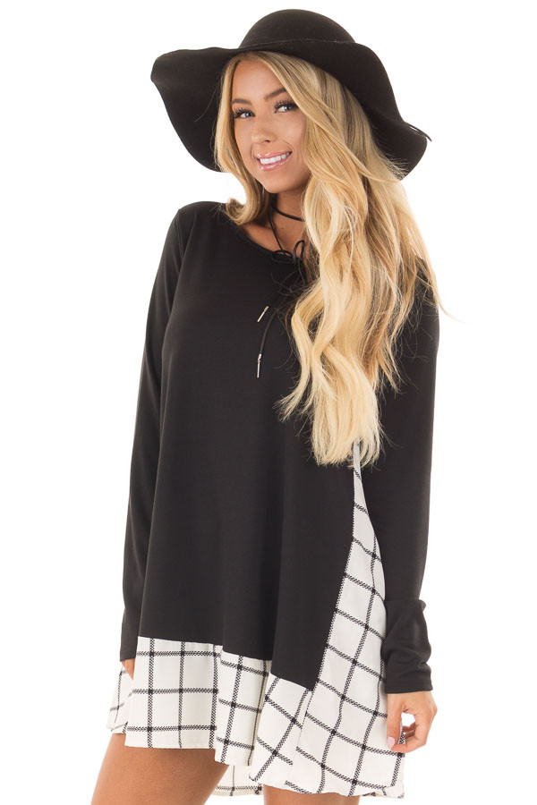 Black Tunic with Windowpane Plaid Contrast and Pockets front close up
