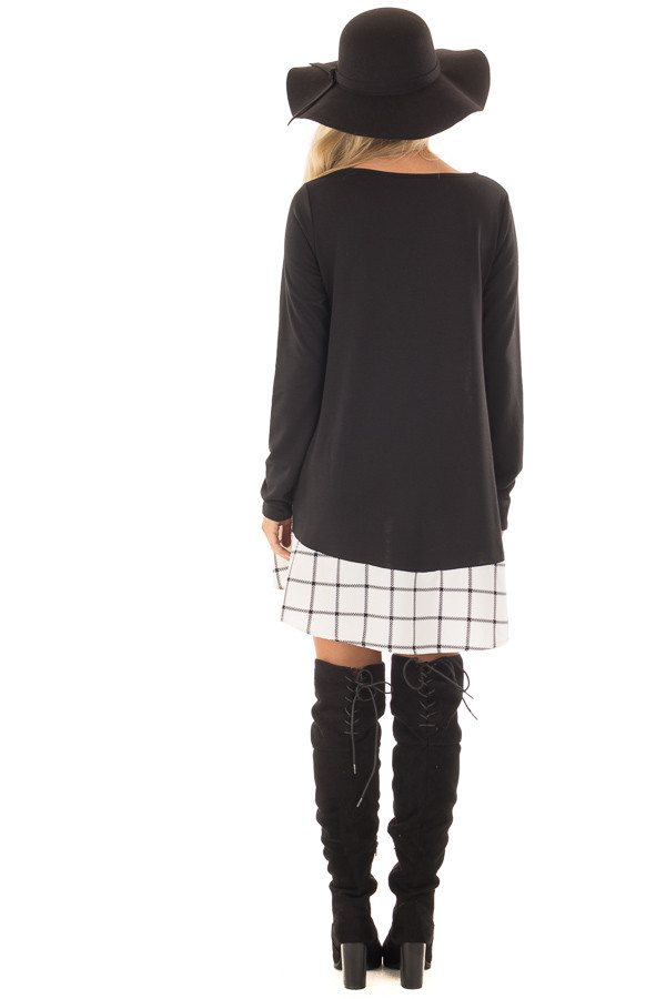 Black Tunic with Windowpane Plaid Contrast and Pockets back full body