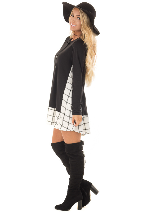 Black Tunic with Windowpane Plaid Contrast and Pockets side full body