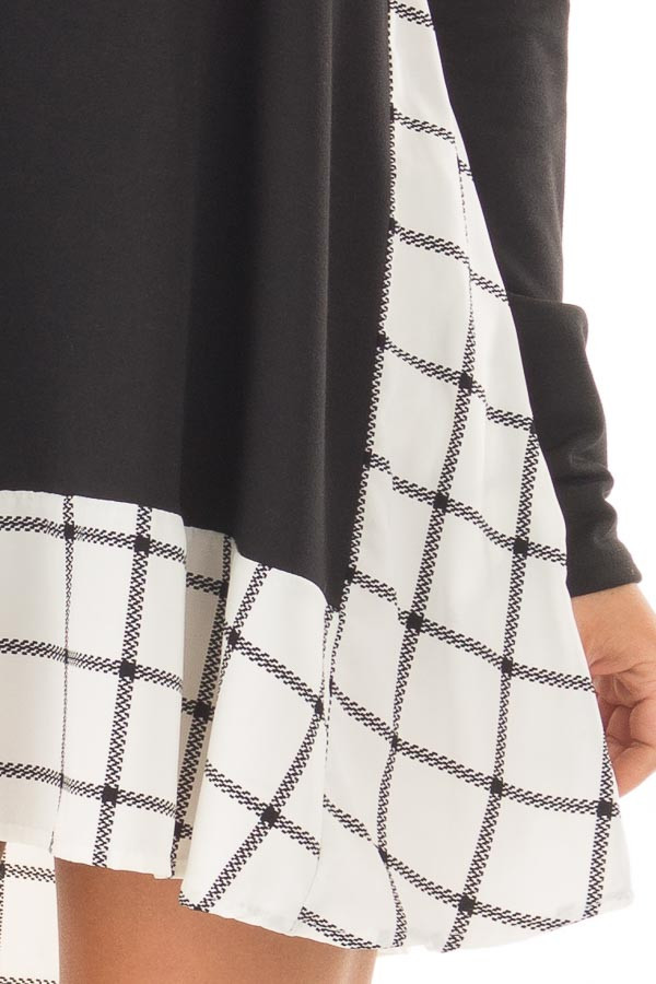 Black Tunic with Windowpane Plaid Contrast and Pockets detail