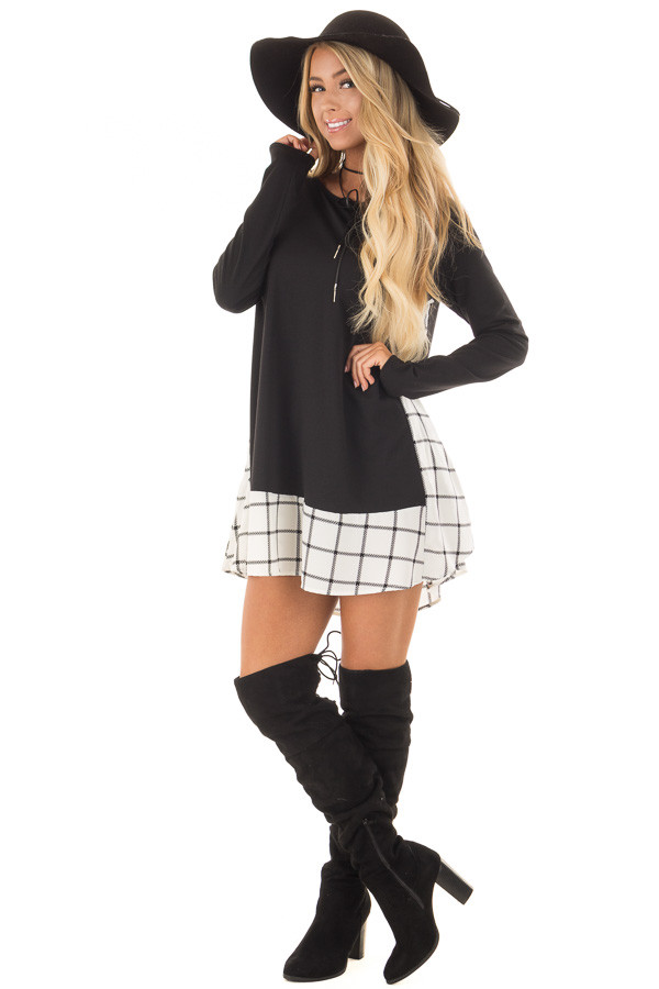 Black Tunic with Windowpane Plaid Contrast and Pockets front full body