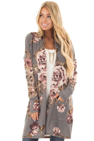 Cloud Grey and Dusty Rose Floral Print Long Cardigan front close up
