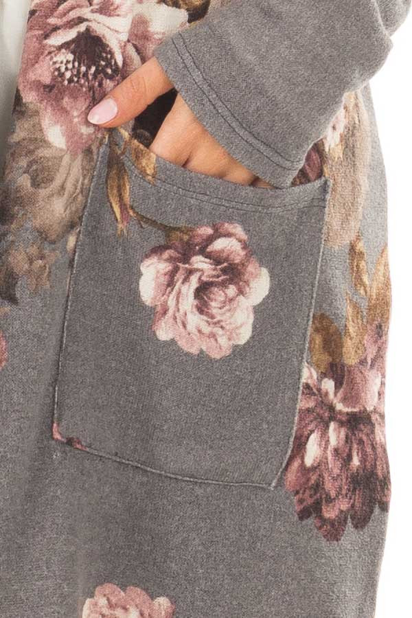 Cloud Grey and Dusty Rose Floral Print Long Cardigan detail