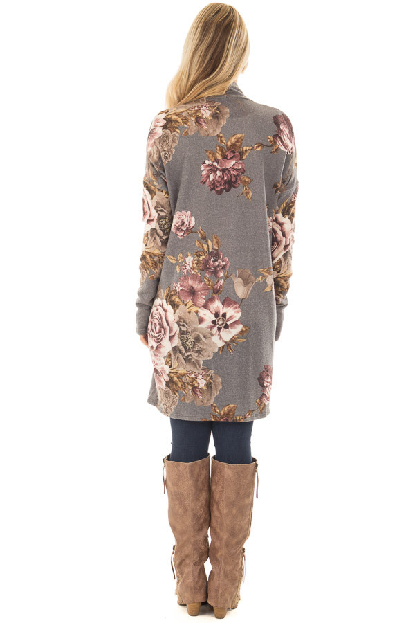 Cloud Grey and Dusty Rose Floral Print Long Cardigan back full body