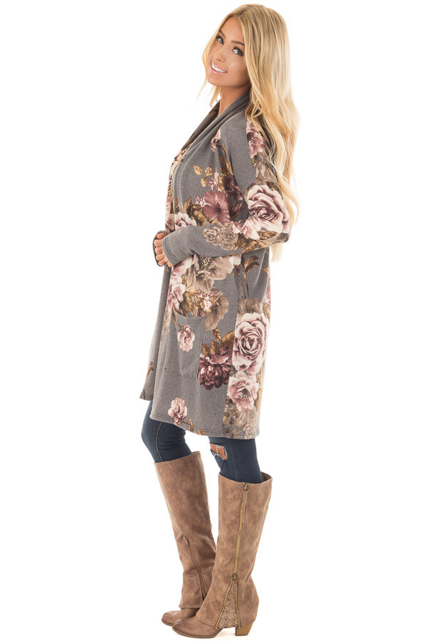 Cloud Grey and Dusty Rose Floral Print Long Cardigan side full body