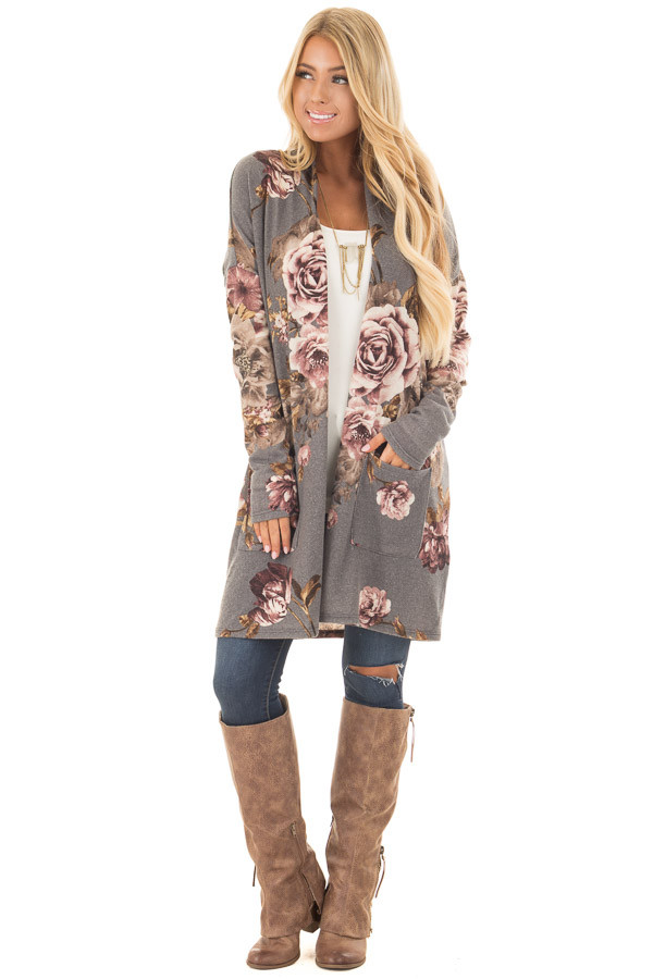 Cloud Grey and Dusty Rose Floral Print Long Cardigan front full body