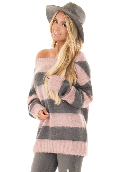 Mauve and Charcoal Striped Distressed Off Shoulder Sweater front close up