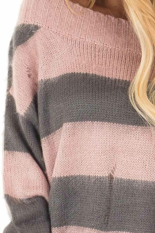 Mauve and Charcoal Striped Distressed Off Shoulder Sweater detail