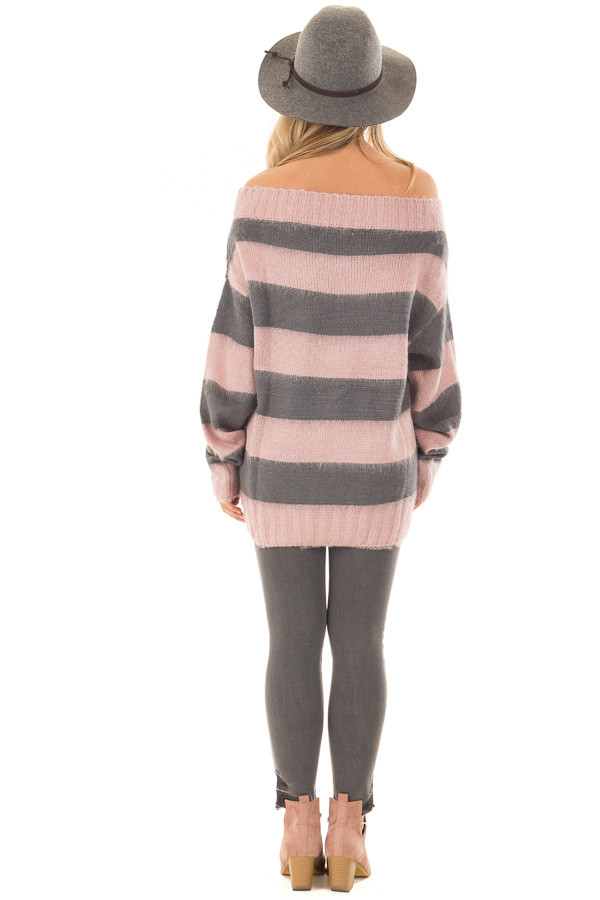 Mauve and Charcoal Striped Distressed Off Shoulder Sweater back full body