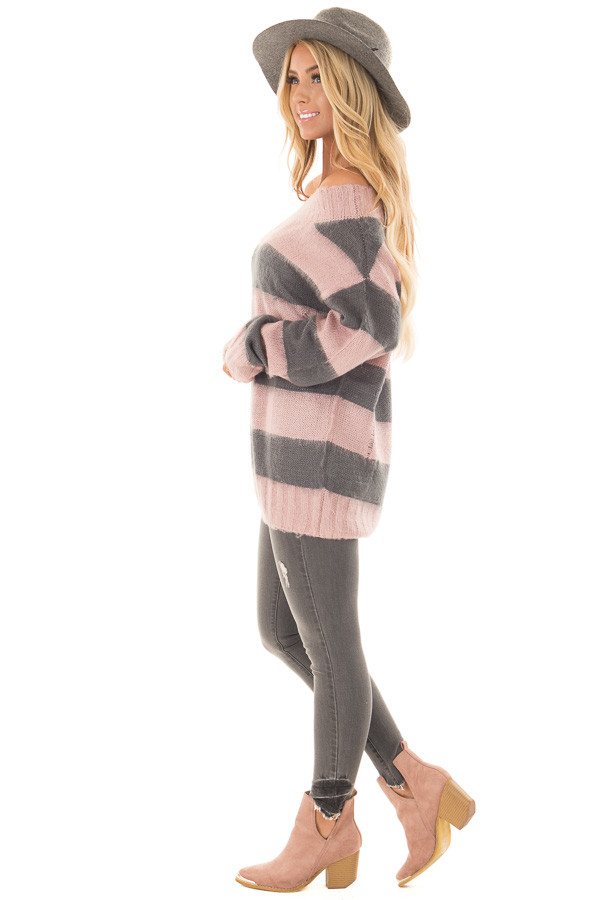 Mauve and Charcoal Striped Distressed Off Shoulder Sweater side full body