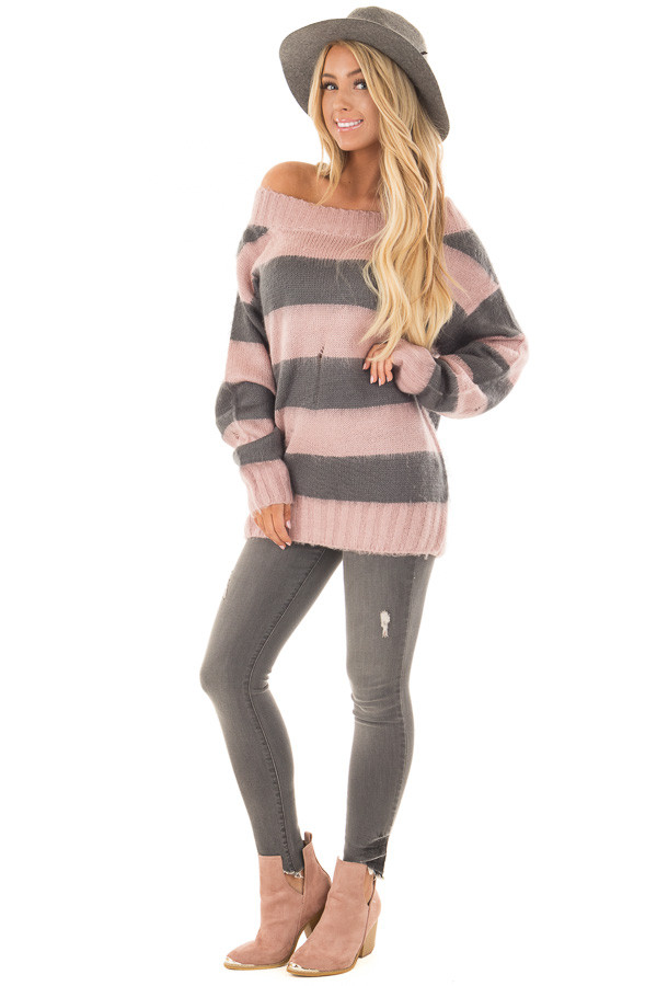 Mauve and Charcoal Striped Distressed Off Shoulder Sweater front full body