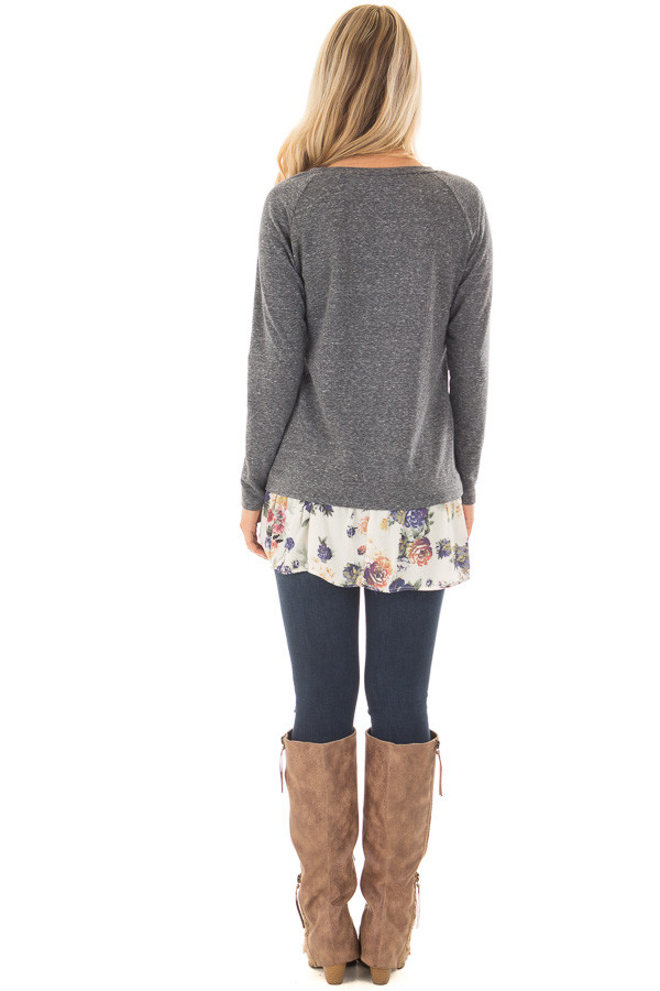 Navy Long Sleeve Top with Floral Contrast Hem back full body