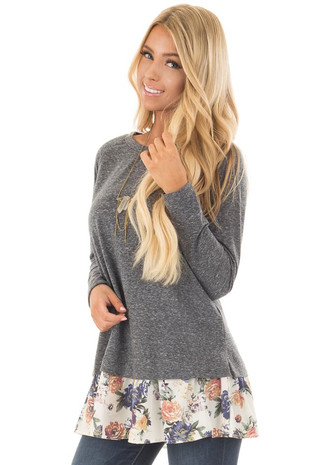 Navy Long Sleeve Top with Floral Contrast Hem front close up
