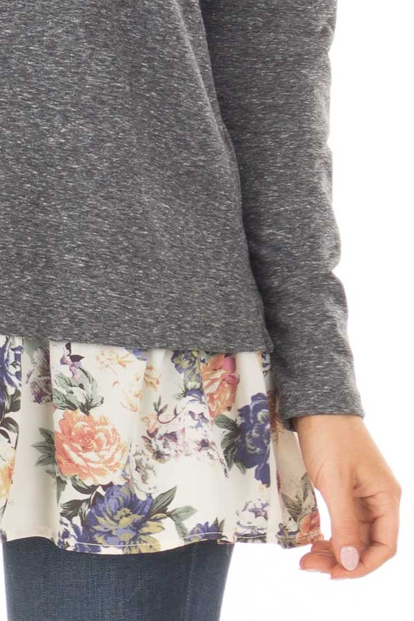 Navy Long Sleeve Top with Floral Contrast Hem detail