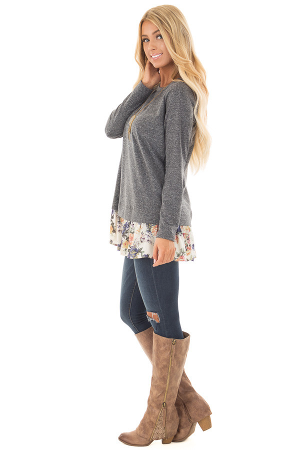 Navy Long Sleeve Top with Floral Contrast Hem side full body