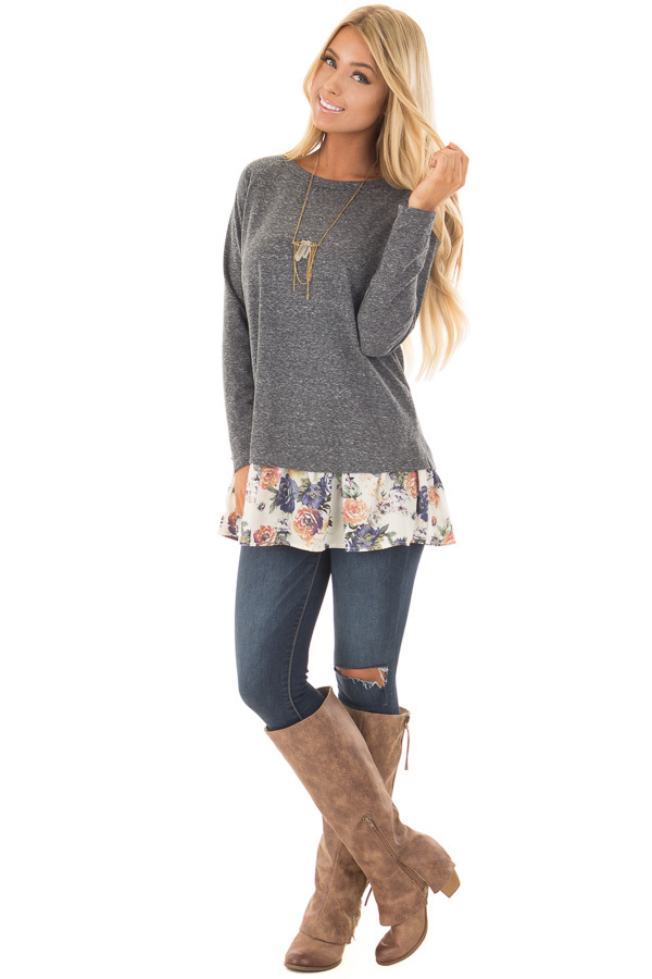 Navy Long Sleeve Top with Floral Contrast Hem front full body