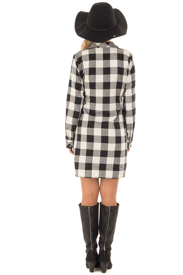 Black and Cream Plaid Dress with Waist Tie back full body