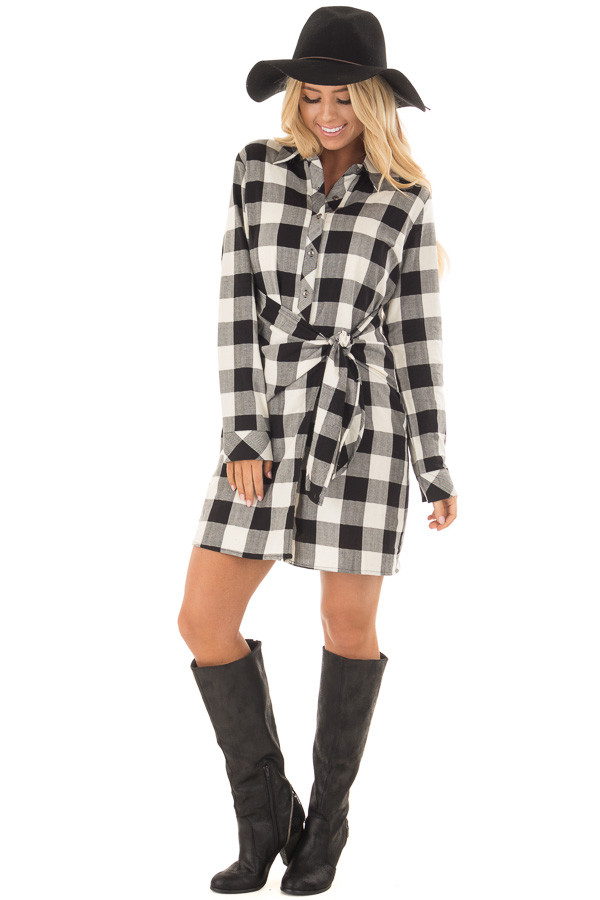 Black and Cream Plaid Dress with Waist Tie front full body
