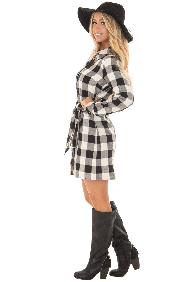 Black and Cream Plaid Dress with Waist Tie side full body