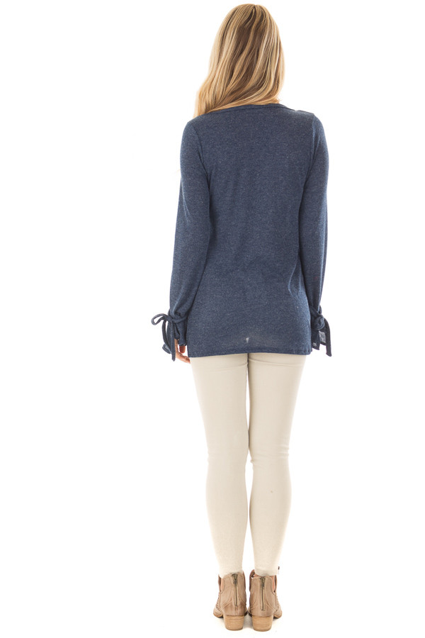 Navy Top with Bell Sleeve and Tie Detail back full body