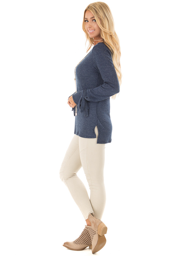 Navy Top with Bell Sleeve and Tie Detail side full body