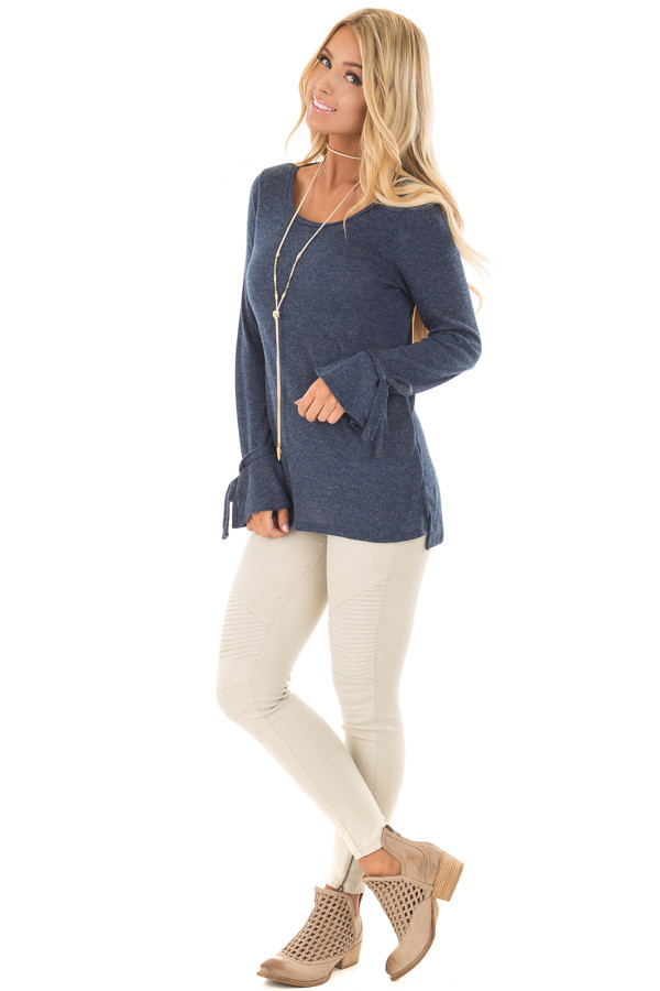 Navy Top with Bell Sleeve and Tie Detail front full body