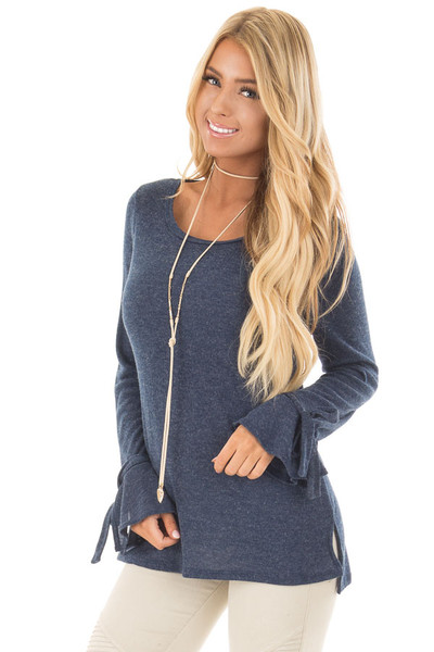 Navy Top with Bell Sleeve and Tie Detail front close up