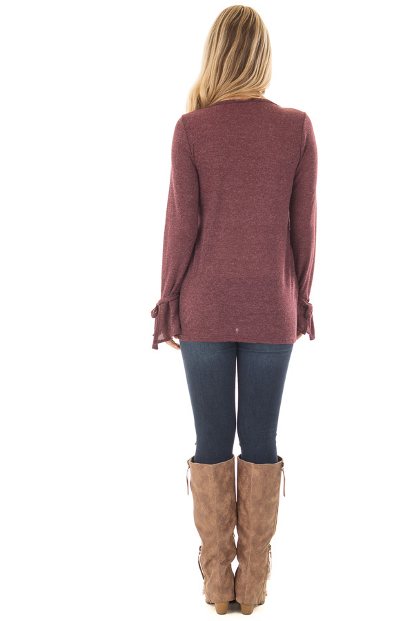 Burgundy Top with Bell Sleeve and Tie Detail back full body
