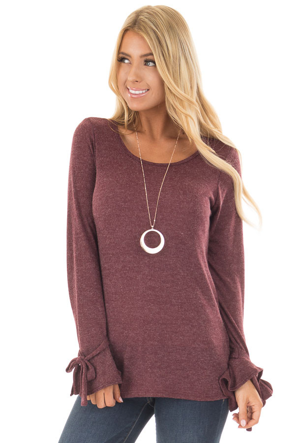 Burgundy Top with Bell Sleeve and Tie Detail front close up