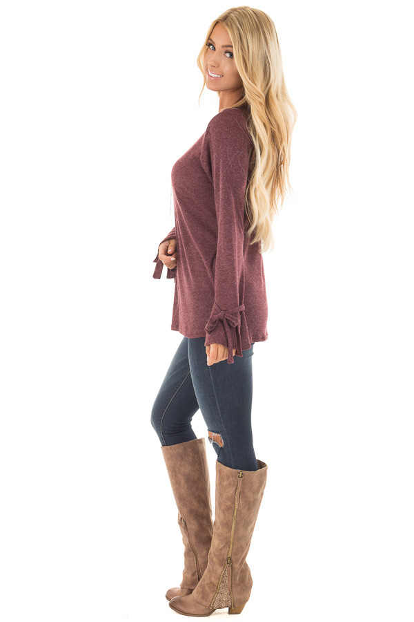 Burgundy Top with Bell Sleeve and Tie Detail side full body