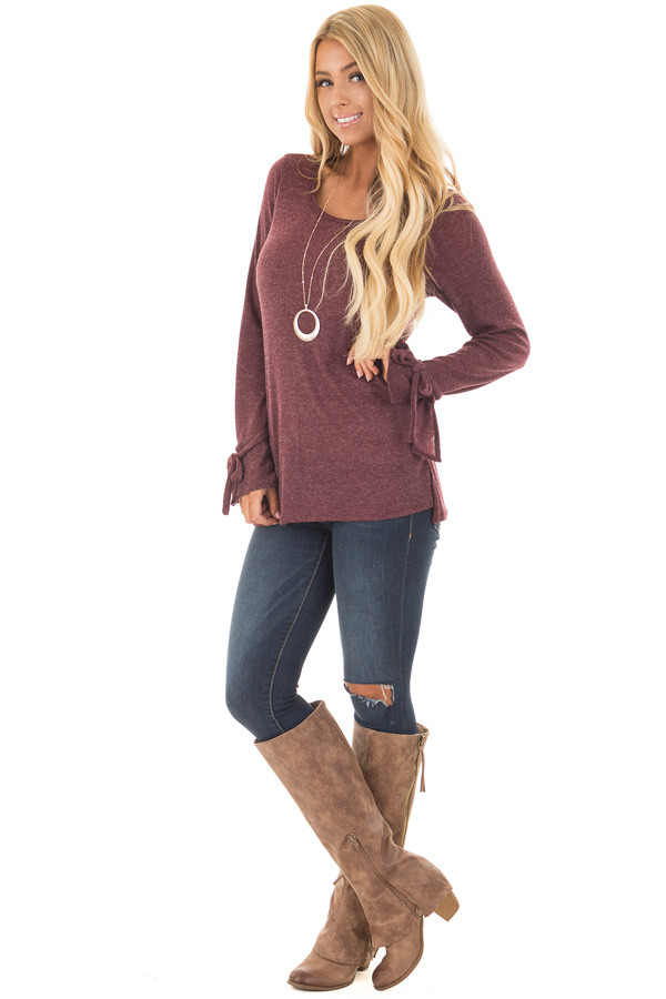 Burgundy Top with Bell Sleeve and Tie Detail front full body