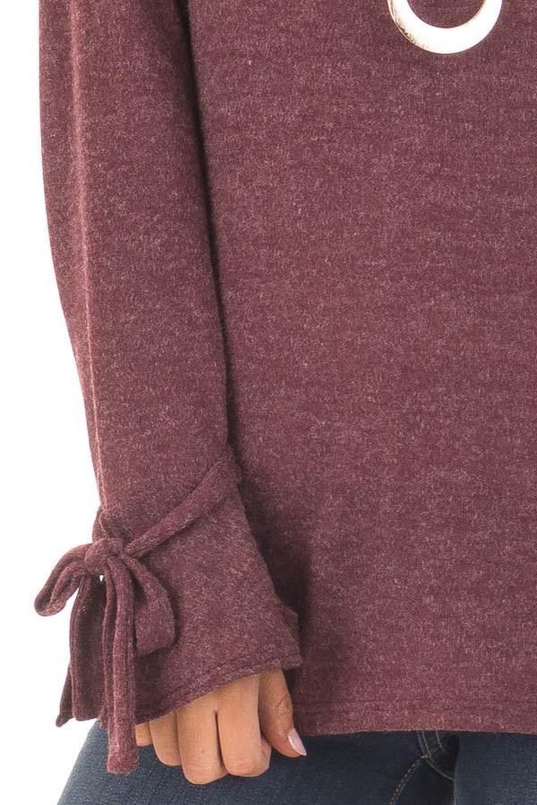 Burgundy Top with Bell Sleeve and Tie Detail detail