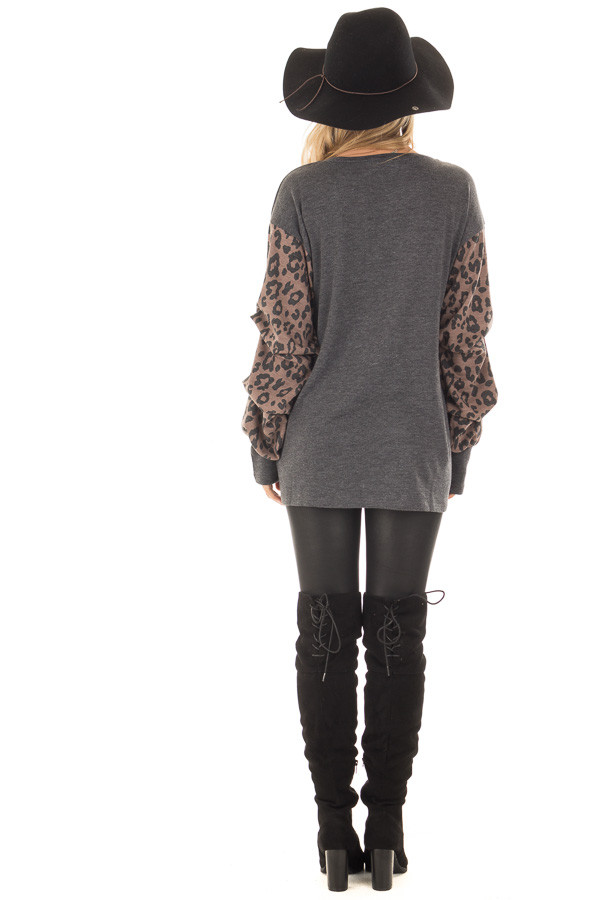 Charcoal Top with Leopard Print Bubble Sleeves back full body