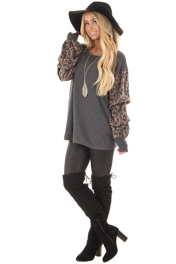 Charcoal Top with Leopard Print Bubble Sleeves front full body