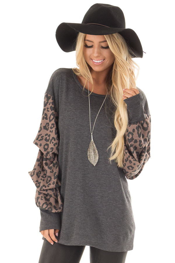 Charcoal Top with Leopard Print Bubble Sleeves front close up