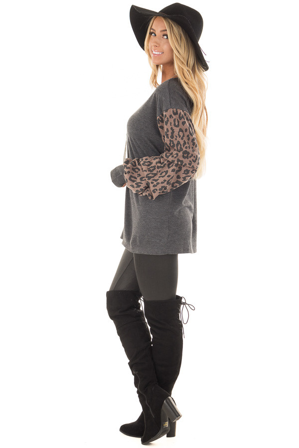Charcoal Top with Leopard Print Bubble Sleeves side full body