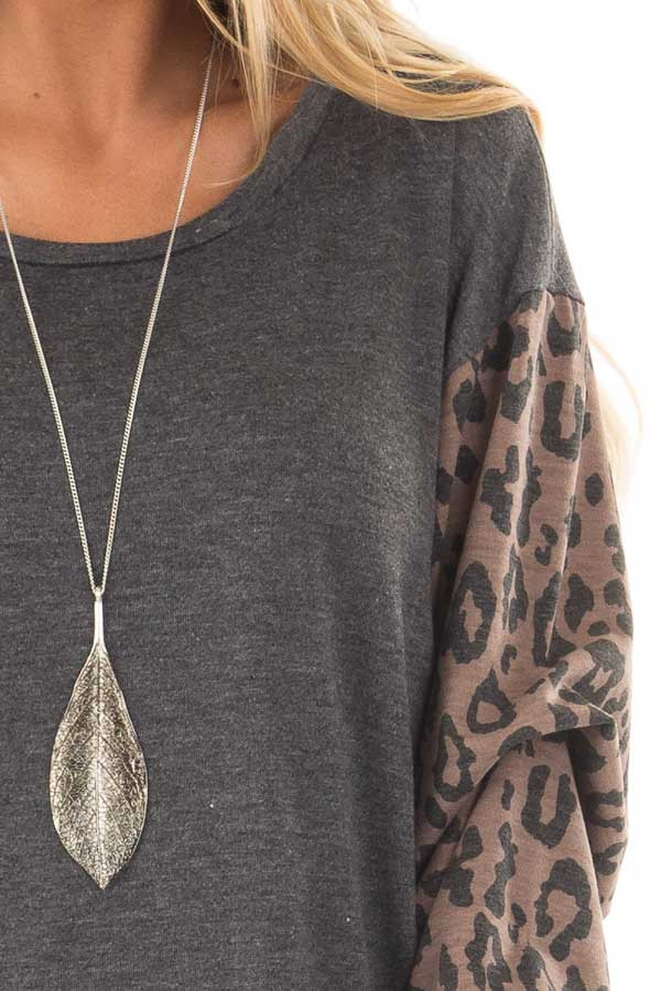 Charcoal Top with Leopard Print Bubble Sleeves detail