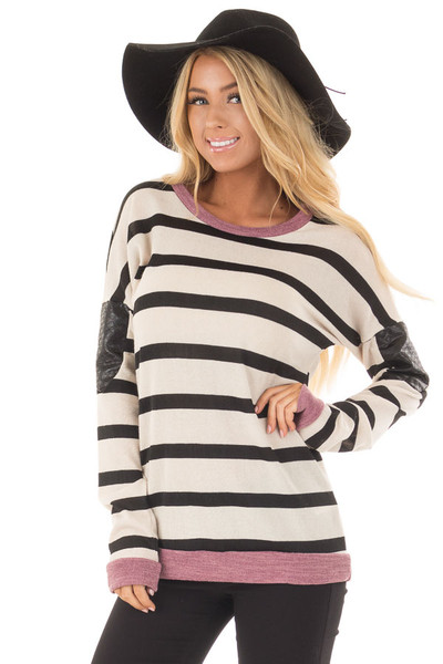 Ivory Striped Top with Violet and Black Faux Leather Details front closeup