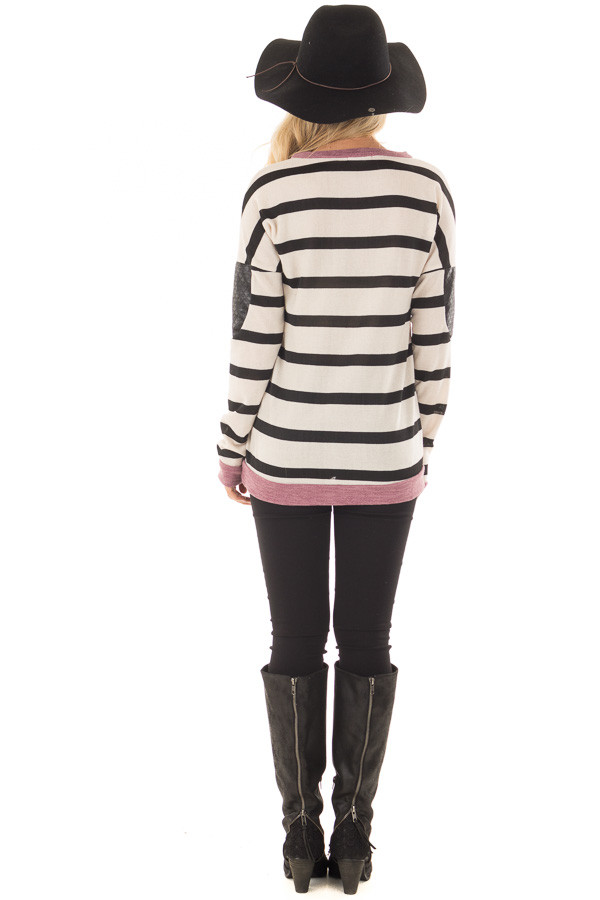 Ivory Striped Top with Violet and Black Faux Leather Details back full body