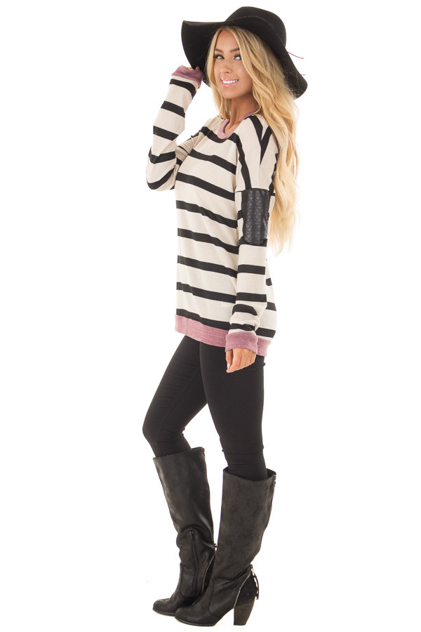 Ivory Striped Top with Violet and Black Faux Leather Details side full body
