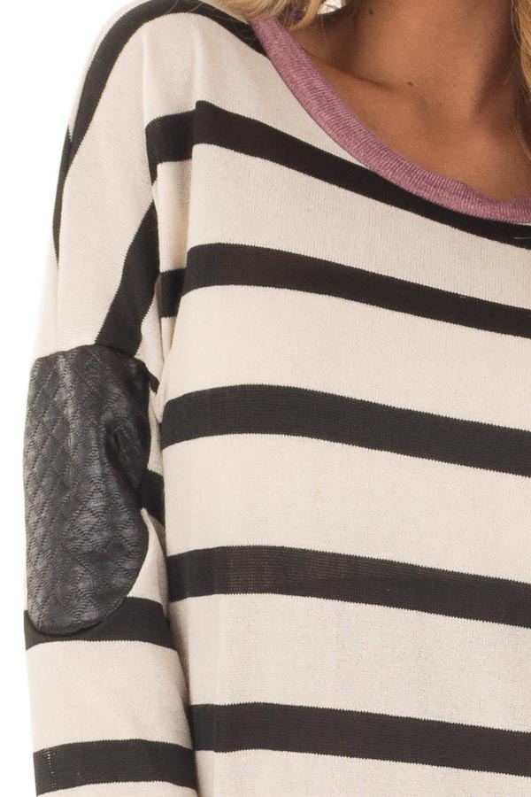 Ivory Striped Top with Violet and Black Faux Leather Details front detail