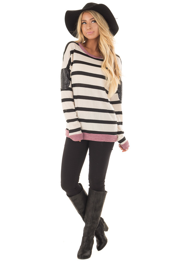Ivory Striped Top with Violet and Black Faux Leather Details front full body