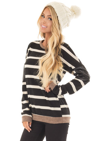 Black Striped Top with Mocha and Black Faux Leather Details front closeup