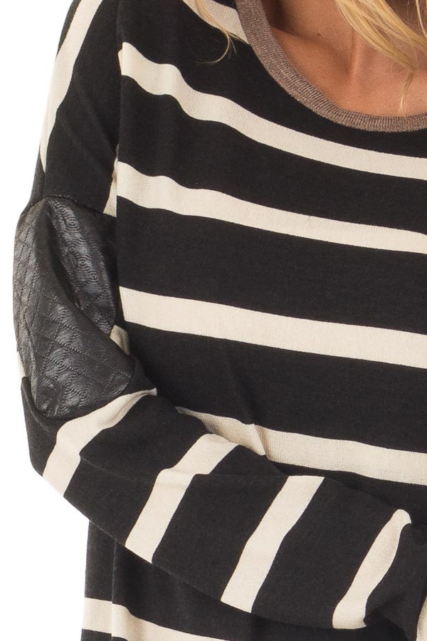 Black Striped Top with Mocha and Black Faux Leather Details front detail