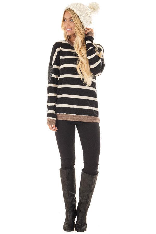Black Striped Top with Mocha and Black Faux Leather Details front full body