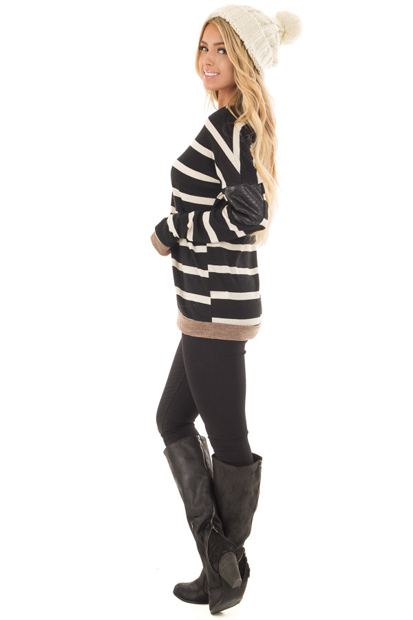 Black Striped Top with Mocha and Black Faux Leather Details side full body