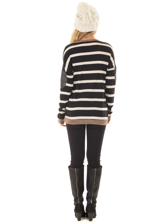 Black Striped Top with Mocha and Black Faux Leather Details back full body