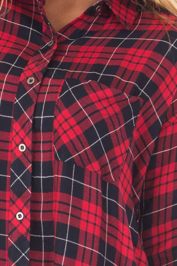 Red and Navy Plaid Button Up Collared Top front detail