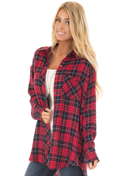 Red and Navy Plaid Button Up Collared Top front closeup